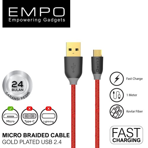 Foto Produk EMPO Braided Nylon Micro to USB-A 2.4 Charging & Syncing Cable (MERAH) dari EMPO