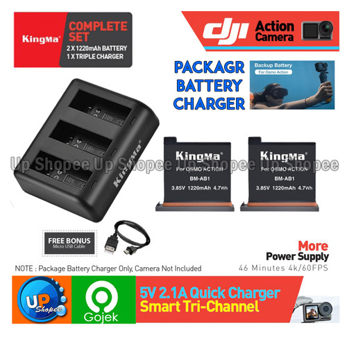 Foto Produk KingMa Paket - Baterai & Charger Set for DJI OSMO ACTION CAMERA dari Up shopee