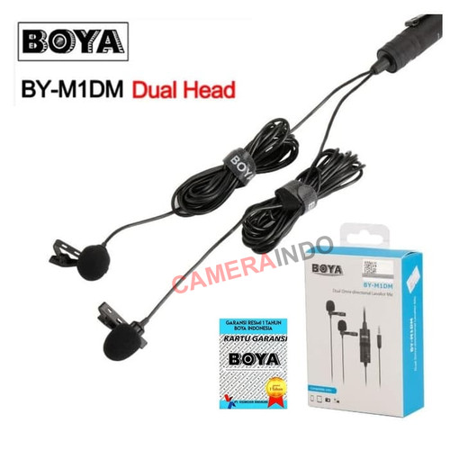 Foto Produk BOYA BY-M1DM Dual Clip-On Microphone for DSLR Camera Smartphone dari cameraindo