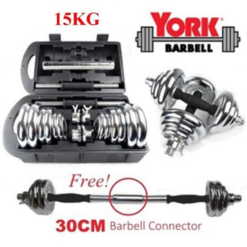 Foto Produk Dumbell 15kg York Set Chrome / Barbel 15 kg / Dumbel York 15 kg dari TosqaStore