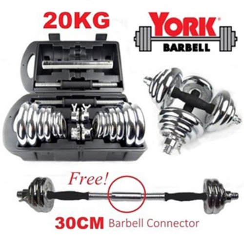 Foto Produk Barbel 20 kg / Dumbel 20 kg /Dumble 20kg York Chrome Set dari TosqaStore