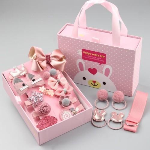 Foto Produk RW028 Set Aksesoris Rambut Bayi Anak Perempuan Bahan Katun 18 Pcs+Dus - Pink dari RW onlineshop