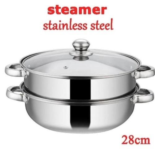 Foto Produk Panci Steamer / Panci Kukus Stainless 28cm -Steamer Pan Multiguna dari PELANGI15 ACCESORIES