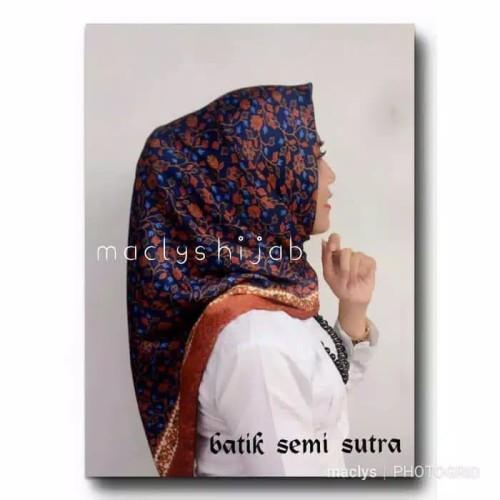 Foto Produk KERUDUNG BATIK SEMI SUTRA / JILBAB BATIK PESTA / BIRU COKLAT dari HATISHOP