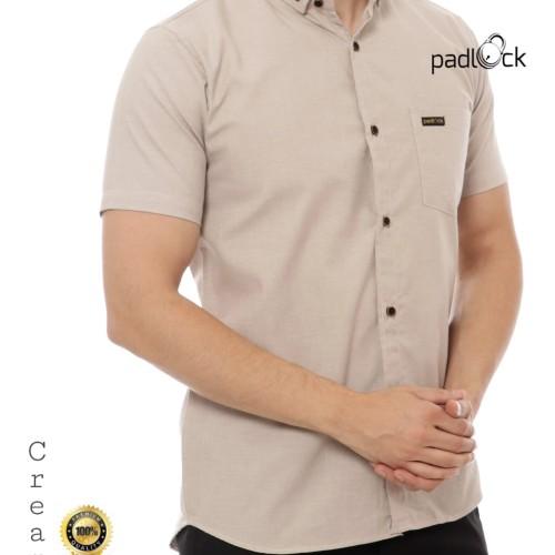 Foto Produk Kemeja Pria Lengan Pendek Polos Cream dari padlock