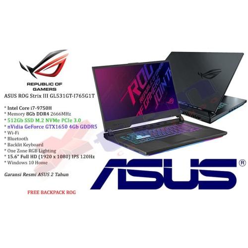 Foto Produk ASUS ROG G531GT Strix III - i7-9750H 8Gb 512Gb GTX1650 4Gb 15.6 FHD Wi dari XTen Computindo