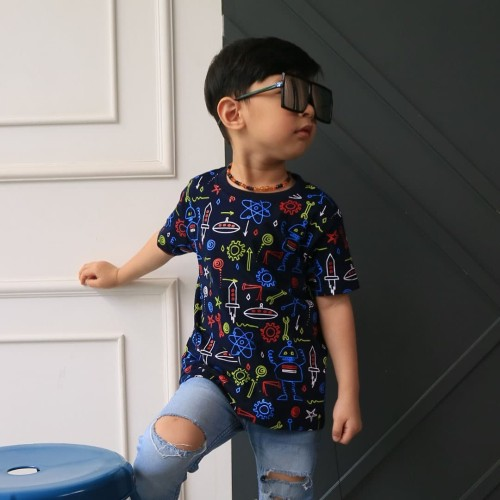 Foto Produk Kaos Anak - Anak Space Doodle Navy L078 by Little Jergio - SMALL dari Little Jergio