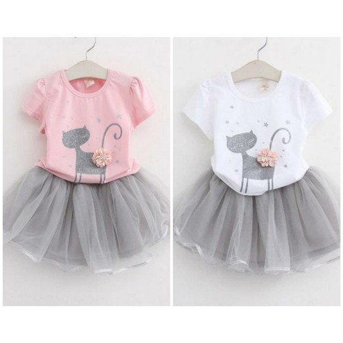 Foto Produk JUAL - Setelan Anak Perempuan (Kaos + Rok Tutu) - BELLE SET - Putih dari EunikeFashion_id