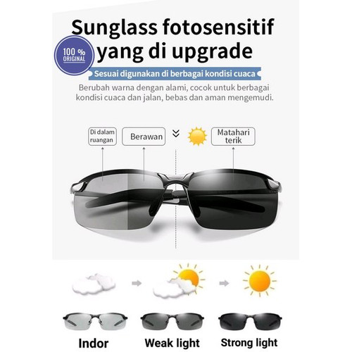 Foto Produk Original Kacamata Polarized Siang & Malam Polaroid Photochromic Sport - Bening dari SL Gadget