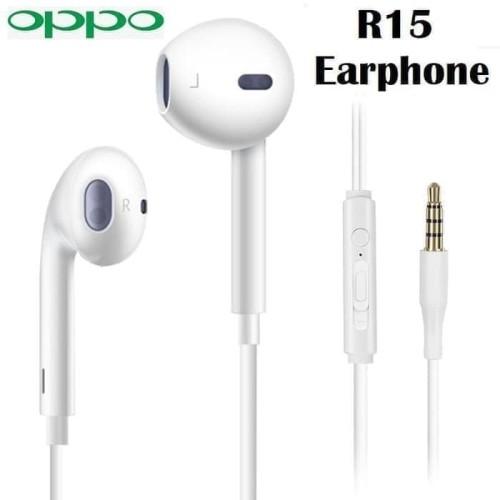 Foto Produk Hf Handsfree Earphone Headset OPPO R15 Original 100% ORI - Putih dari Indo Smart Acc