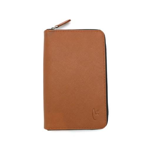 Foto Produk VERMONT V83 - P004 Luxury Tan Genuine Leather Wallet With Zipper dari VERMONT LEATHER