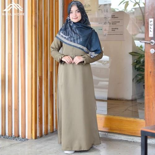 Foto Produk Muslimore - Baju Muslim Wanita Gamis Ijo Olive Polos Syar'i - Hijau Olive, S dari muslimore