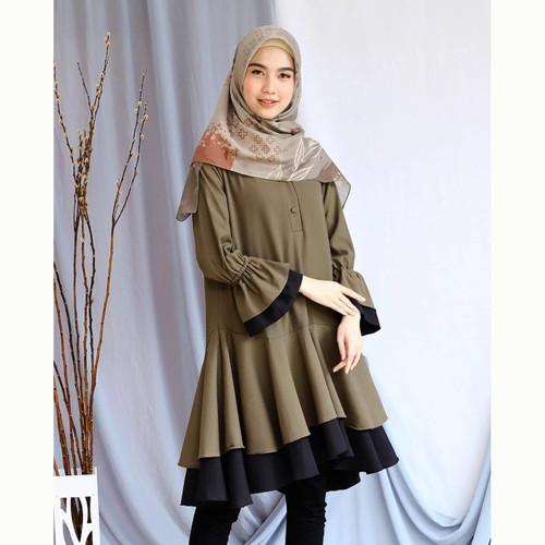 Foto Produk Baju atasan wanita DILHA Tunik blouse Muslim Fashion - ARMY dari look180