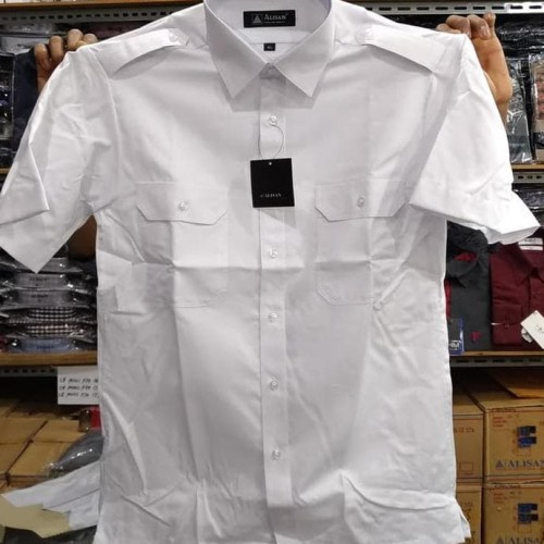 Foto Produk Alisan Kemeja Putih Pangkat Kantong Dua Pendek Pilot Dinas - Putih, XL dari Lais Jauhari