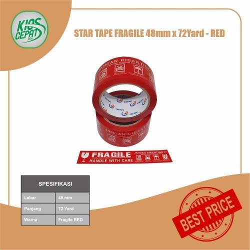 Foto Produk Lakban STAR TAPE FRAGILE MERAH (48mm x 65Meter) dari KiosCepat