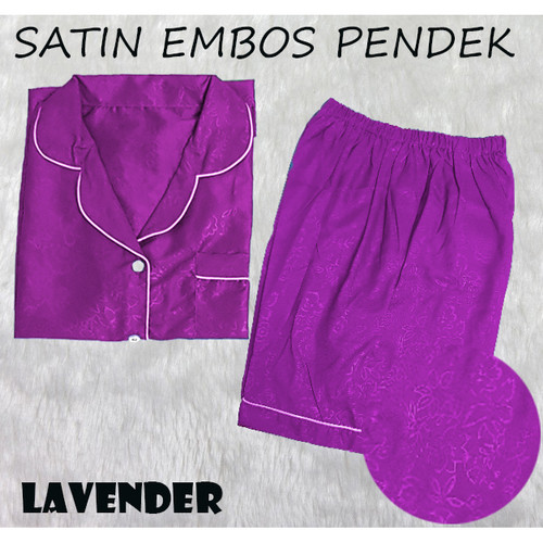 Foto Produk PP SATIN EMBOS JUMBO BAJU TIDUR WANITA DEWASA PENDEK BIGSIZE CEWEK - Lavender dari RisRus Apparel