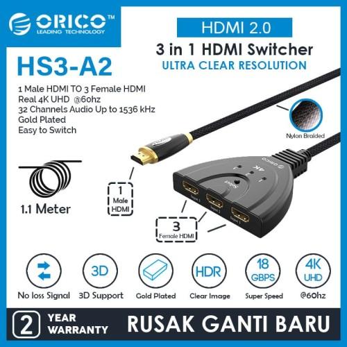 Foto Produk ORICO HDMI2.0 Switcher 4K UHD Convertor 3in1out - HS3-A2 dari ORICO INDONESIA