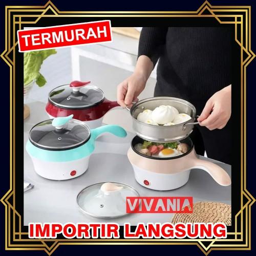 Foto Produk Panci Listrik keramik 2 layer Multifunctional electric fry pan mini - Merah dari Vivania
