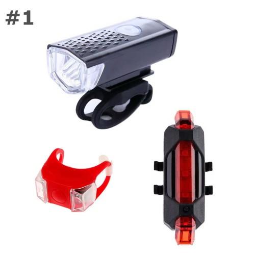 Foto Produk Paket Lampu Sepeda LED Depan Belakang USB Rechargeable dari Adskhan_Oshop