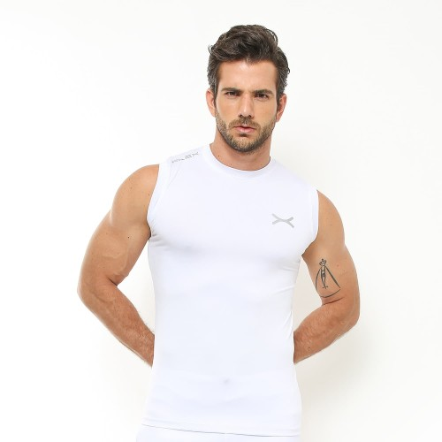 Foto Produk FLEXZONE Sleeveless - White - for Gym Running Jogging Sport FVS-001PT - M dari FLEXZONE