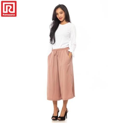Foto Produk Ramayana - JJ Casual Celana Kulot 7/8 Woolpeach (08043156) Dusty Pink dari Kiran Dewi0
