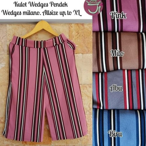 Foto Produk celana kulot salur pendek murah - Merah Muda dari Kiran Dewi0
