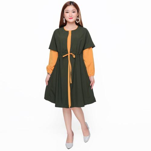 Foto Produk Tunik double layer muslim wanita model terbaru - Jfashion Rosalie - Hijau dari j--fashion