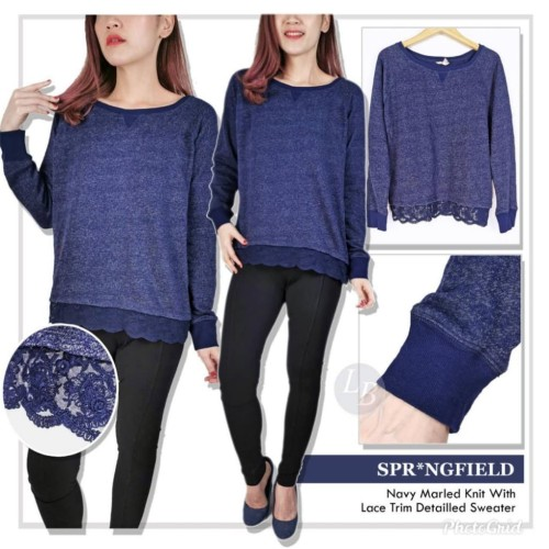 Foto Produk LK38 Springfield navy marled knit with Lace trim detailed sweater - Navy, M dari L ' N shop