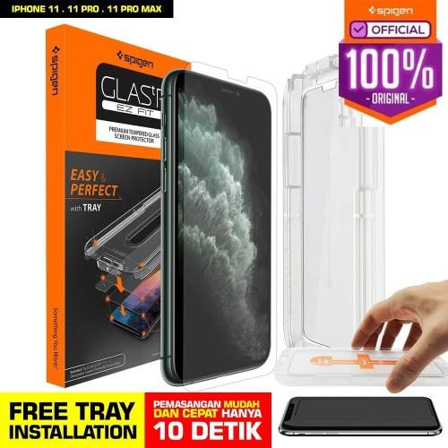Foto Produk Tempered Glass iPhone 11 / Pro / Max / XS Max / XS XR X Spigen EZ Fit - 11Max or XSMAX dari Spigen Official