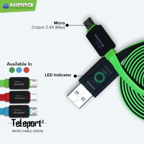 Foto Produk Hippo Kabel Teleport 2 Micro 200 cm Fast Charging Data Support Garansi dari Clarias Shop