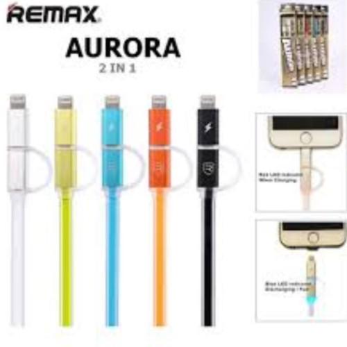 Foto Produk Remax Aurora 2in1 lightning and micro usb cable kabel 100 original dari Clarias Shop
