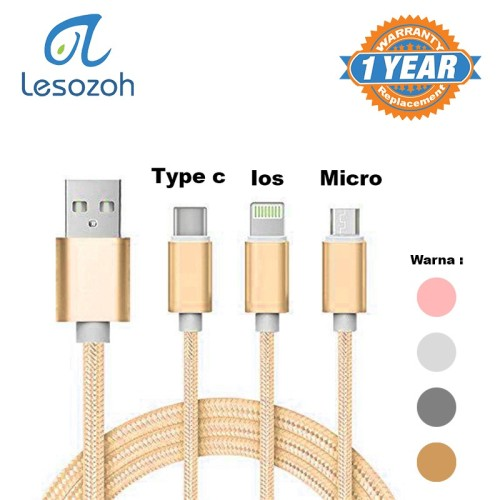 Foto Produk KABEL CHARGER 3 in 1 3A Nylon Braided Charge Cable 1 Meter LESOZOH UT3 dari Clarias Shop