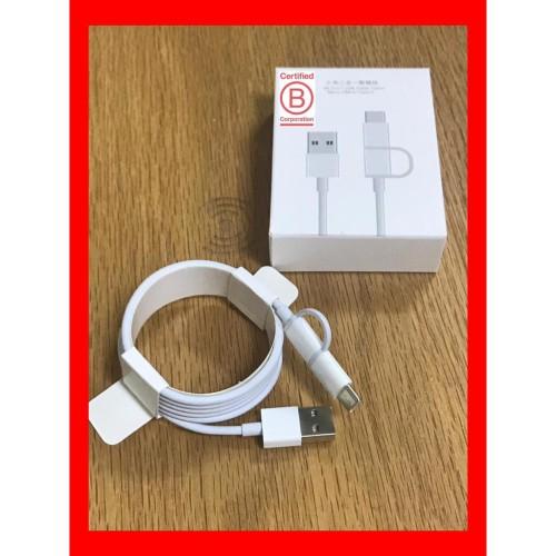 Foto Produk Xiaomi Mi 2 in 1 USB Cable 1m 100cm - Micro USB to USB C Original dari Clarias Shop