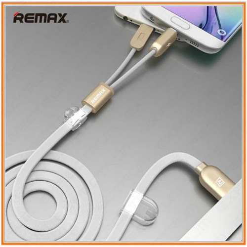 Foto Produk Remax 2 in 1 Micro USB Lightning Data Cable RC-025t Android iPhone dari Clarias Shop