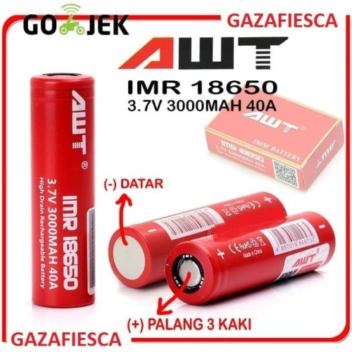 Foto Produk Baterai Awt 18650 3000mAh 40Ampere Promo dari gazafiesca
