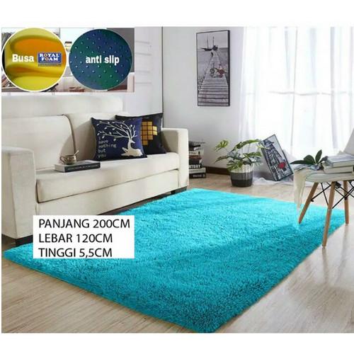 Foto Produk Karpet bulu 200 x 120 tebal 5,5 cm RASFUR Karpet lantai anti slip - hitam dari BROUMmedia