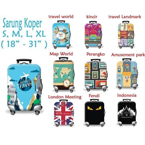 Foto Produk Sarung Cover Pelindung Koper Elastis Luggage Cover Character - Travel World, L dari Celebre_ID