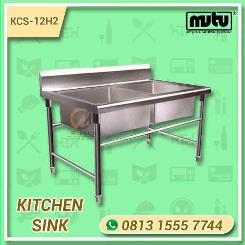 Foto Produk Kitchen Sink Double Bowl | Tempat Cuci Piring Dapur 2 Lubang KCS-12H2 dari Cempaka Mesin