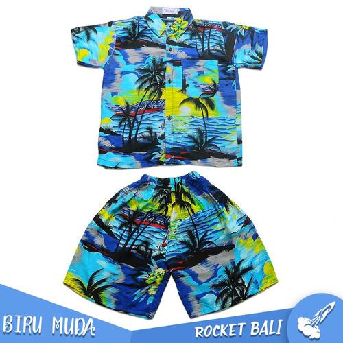 Foto Produk Baju Dan Celana Pantai Anak - Baju Setelan Pantai Anak - Kemeja Hawai - Biru Muda, M dari Rocket Bali