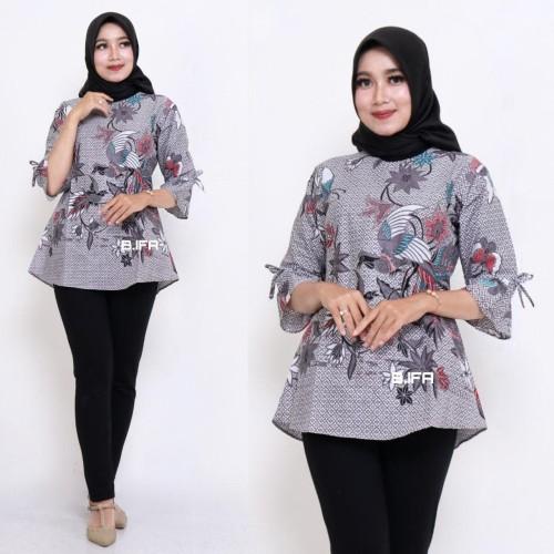Foto Produk Blouse Batik Kantor Grey Birf / Batik IFA / Atasan Wanita Blus dari Batik Ifa