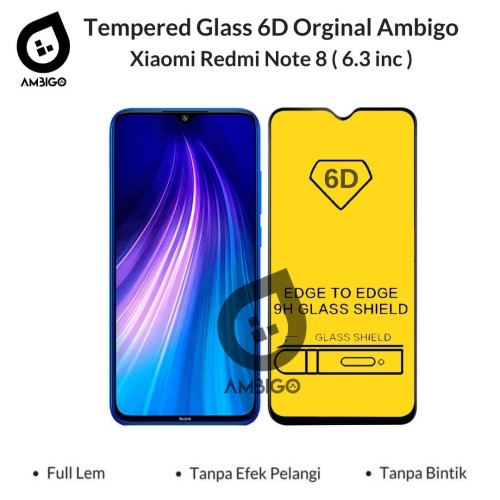 Foto Produk Tempered Glass 6D Xiaomi Redmi Note 8 Full Cover Color Ambigo - Hitam dari Jagonya Case