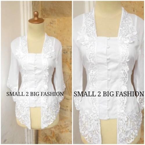 Foto Produk Kebaya Katun Bordir Encim Kutubaru KTB-001 PUTIH S - XL dari Small 2 Big Fashion