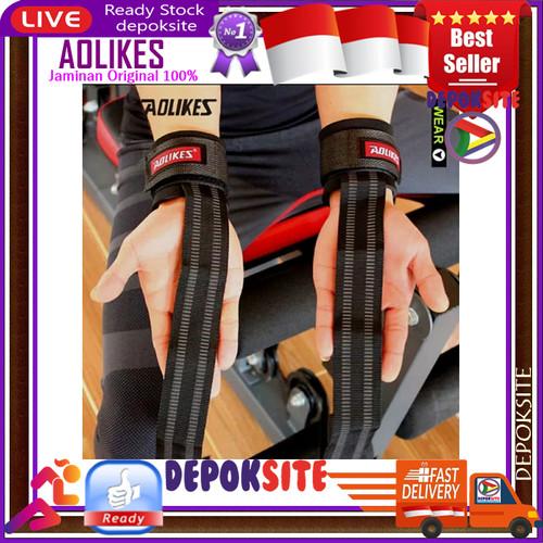 Foto Produk 2 pcs AOLIKES 7638 Wrist Band Strap Weight Lifting Barbell Fitness Gym - Hitam dari Depoksite