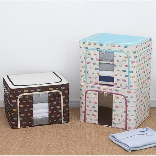 Foto Produk Home organizer box penyimpanan frame baja double zipper lemari baju 02 dari bright harmoony