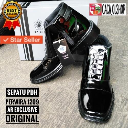 Foto Produk Sepatu Pdh Perwira TNI|Polri|Satpam|Dishub AR Exclusiv 1209 Kulit Asli - Hitam, 39 dari Caca_Olshop