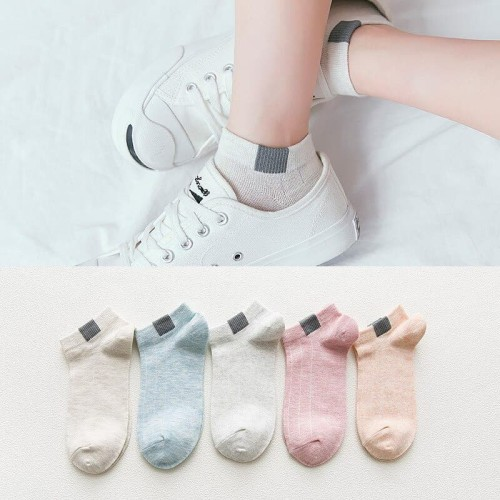 Foto Produk KK24 Kaos Kaki Wanita One Strip Solid Color Women Sock - Biru dari EnnWen Online Store
