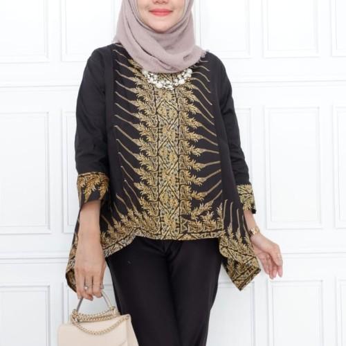 Foto Produk blouse batik hijab fashion modang - Hitam dari Batik Sri