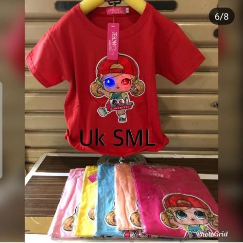 Foto Produk Kaos LED anak lampu mono led LOL/Tshirt anak perempuan baju lol lucu dari milias asesoris