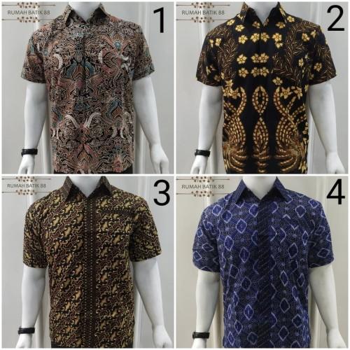 Foto Produk Kemeja Batik Pria Lengan Pendek Murah Baju Batik Cowok Batik Couple - Variasi Satu, M dari RUMAH BATIK 88