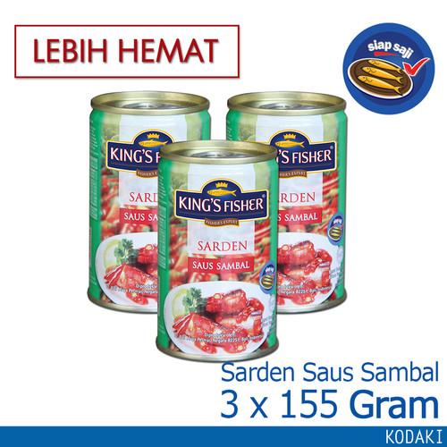 Foto Produk Paket 3 pcs King's Fisher Sarden mini saus sambal Makanan Kaleng 155g dari Kings Fisher